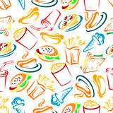 Fast food and drinks seamles pattern Stock Photography