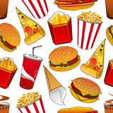 Fast food and drinks seamless pattern Stock Image