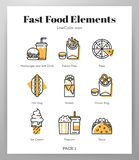 Fast food elements LineColor pack royalty free illustration