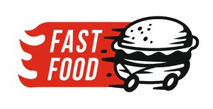 Fast food emblem. Fast food logo emblem on white background Stock Photo