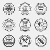 Fast food emblems, logo or labels vector set Royalty Free Stock Photography