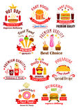 Fast food emblems with ribbons Royalty Free Stock Photography