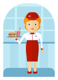 A fast food employee delivering a burger and a soda. Cartoon fla Stock Images