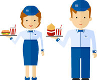 A fast food employee delivering a drink and food. Cartoon flat v Royalty Free Stock Photo