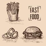 Fast food Estilo tirado mão Grupo de alimento insalubre Fritado com anéis do hamburguer e de cebola Ilustração do vetor Fotos de Stock Royalty Free