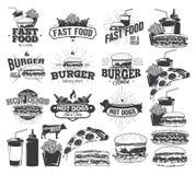 Fast Food etykietka, logowie ilustracji