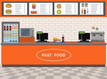 Fast Food and Express Cafe interior . Royalty Free Stock Image