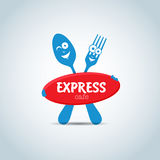 Fast food, express cafe logo template. Fork and spoon cartoon characters, food theme logotype vector template. Stock Image