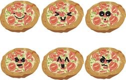 Fast Food Faces - Pizza Royalty Free Stock Images