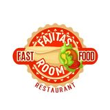 Fajitas Mexican fast food restaurant vector icon Royalty Free Stock Photos