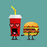 Fast food fall in love Royalty Free Stock Images