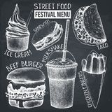 Street food festival menu. Vintage sketch collection. Fast food set on chalkboard. Vector ice cream, burger, milkshake, chicken fi. Ngers, sandwich, tacos stock illustration