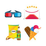 Fast food and film cinema icons vector illustration. Fast food and film cinema technology vector. Movie entertainment 3d glasses and red road illustration Royalty Free Stock Photos