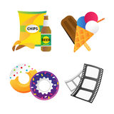 Fast food and film cinema technology vector illustration. Stock Image
