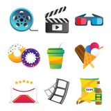 Fast food and film cinema technology vector illustration. Fast food and film cinema technology vector. Twisted movie strip with round box roll illustration Stock Images