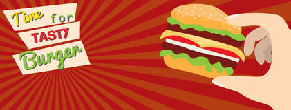 Fast food flat advert banner Royalty Free Stock Photo
