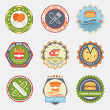 Fast food flat badges Royalty Free Stock Photo