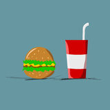 Fast food flat color. Stock Images
