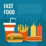 Fast food flat design Royalty Free Stock Image