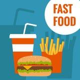 Fast food flat design Royalty Free Stock Photo