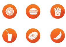 Fast food flat design icons set. template elements for web and mobile applications vector illustration