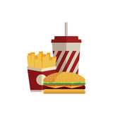 Fast food. Flat design. Lunch with french fries, hot dog and soda takeaway on isolated background. Fast food. Flat design. Vector Illustration Royalty Free Stock Photography