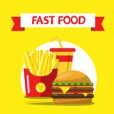 Fast Food Flat Design Vector Illustration. On Yellow Background. French Fries, Hamburger and Drink Royalty Free Stock Image