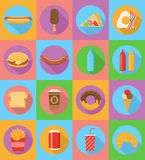 Fast food flat icons with the shadow vector illustration Royalty Free Stock Photo