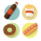 Fast food flat. Fast food illustrations set flat style - Vector Illustration, Graphic Design, Editable For Your Design Stock Photography