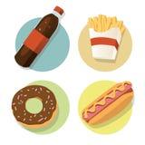Fast food flat. Fast food illustrations set flat style - Vector Illustration, Graphic Design, Editable For Your Design stock illustration