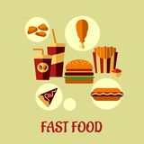 Fast food flat poster design Royalty Free Stock Photography