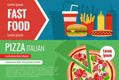 Fast food flat vector horizontal banner set. With hamburger, cola, pizza, hotdog ant text elements for your design Royalty Free Stock Photography