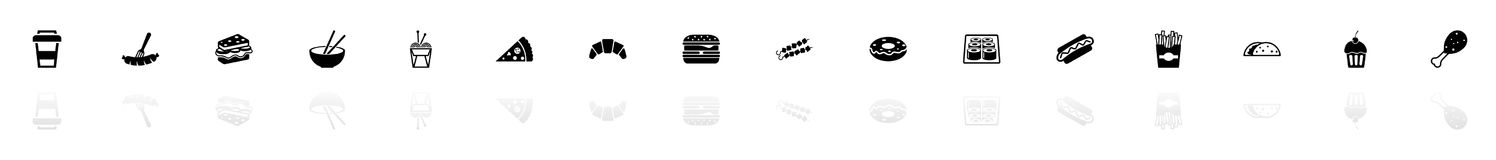 Fast Food - Flat Vector Icons. Fast Food icons - Black horizontal Illustration symbol on White Background with a mirror Shadow reflection. Flat Vector Icon Royalty Free Stock Images