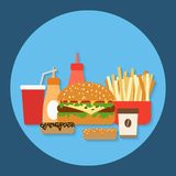 Fast food flat vector illustration Royalty Free Stock Images