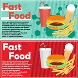 Fast food flyer, banner. Vector banner, flyer with a picture of fast food: a hamburger, cheeseburger, fries, drinks and ice cream, and a place for text Royalty Free Stock Image