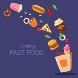Fast Food Flying In Paper Bag Royalty Free Stock Photos