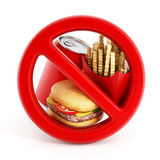 Fast food and forbidden sign Royalty Free Stock Images