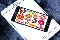 Fast food franchises brands and logos Royalty Free Stock Photography
