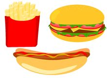 Fast food. French fries, hamburger, hot dog. Vecor image, cliparts Stock Photography