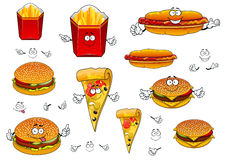 Fast food french fries, pizza, hotdog and burgers Royalty Free Stock Photography