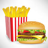 Fast food french fries portion and burger. Fast food french fries big portion with burger Royalty Free Stock Photo