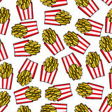 Fast food french fries seamless pattern Stock Image