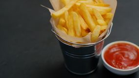 Fast food french fries serving sauce fatty meal