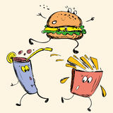 Fast food: french fries, soda, burger Royalty Free Stock Photography