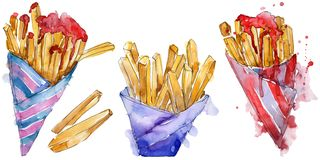 Fast food french fries in a watercolor style set. Aquarelle food illustration for background. Isolated potato element. Fast food french fries in a watercolor royalty free illustration