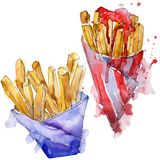 Fast food french fries in a watercolor style set. Aquarelle food illustration for background. Isolated potato element. Fast food french fries in a watercolor stock illustration