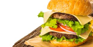 Fast food, fresh burger royalty free stock images