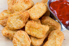 Fast food fresh hot chicken nuggets with ketchup Stock Photography