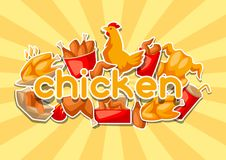 Fast food fried chicken meat. Background with legs, wings and basket Royalty Free Stock Photo