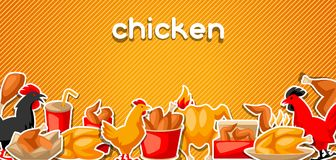 Fast food fried chicken meat. Background with legs, wings and basket Royalty Free Stock Image
